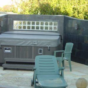 Covered hot tub