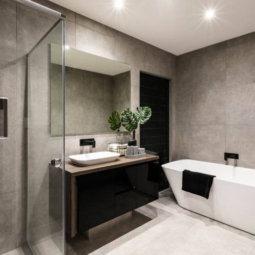 modern large stone minimalist bathroom