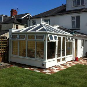 modern garden with sun room