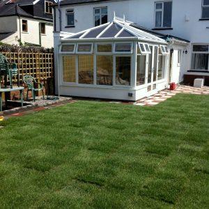 Modern garden with sunroom